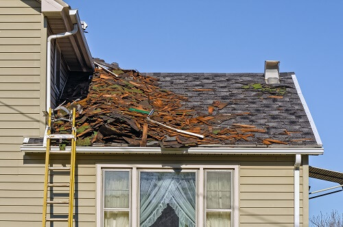 Roof with debris from a storm