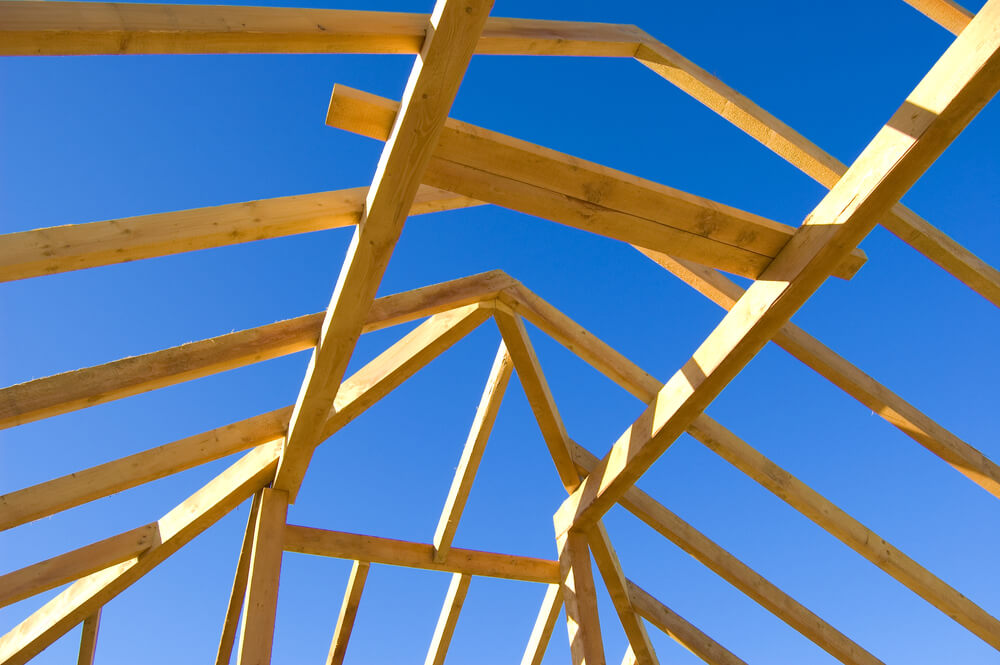 A timber roof frame