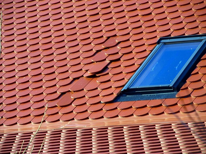 Incorrectly laid tiles on a roof