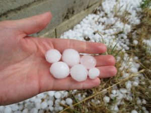 Hail stones in hand